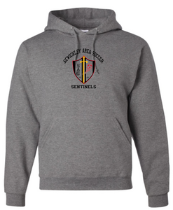 SAS - RED, BLACK & GOLD - OXFORD GREY YOUTH & ADULT HOODED SWEATSHIRT