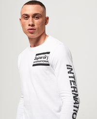 International Monochrome L/S Tee - White - Superdry.sg