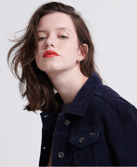 Cord Girlfriend Jacket - Navy - Superdry.sg