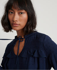 Danika Boho Top - Navy - Superdry.sg