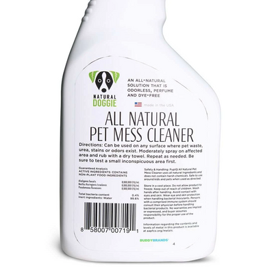 chemical free all natural pet mess cleaner back label