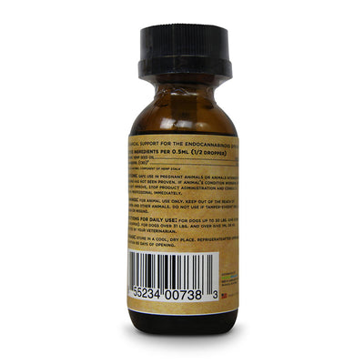 organic full spectrum cbd oil for dogs back label