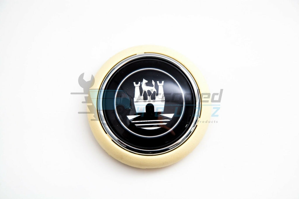 VW Volkswagen Type 2 Deluxe Bus Horn Button With Castle Logo (Ivory/Grey)