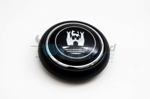 VW Volkswagen Type 2 Deluxe Bus Horn Button With Castle Logo (Black/Grey)