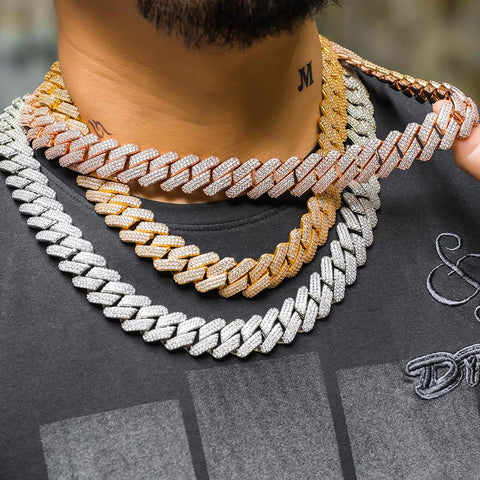 You can never go wrong with the classic look of the Miami Cuban chain, but there came a point when the market had a demand for something a little different. The Prong Cuban chain became popular because it only slightly deviated from the Miami Cuban chain. It had the same general look, but the links had square shapes instead of oval ones. If you simply prefer the look of angular pieces over circular ones — the Prong Cuban chain is calling your name.