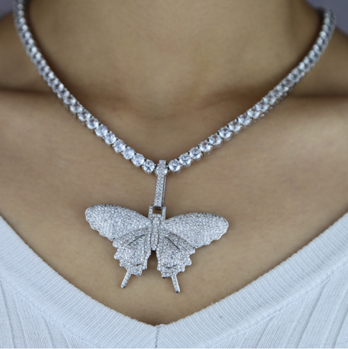 White Gold Iced Butterfly Pendant - Different Drips