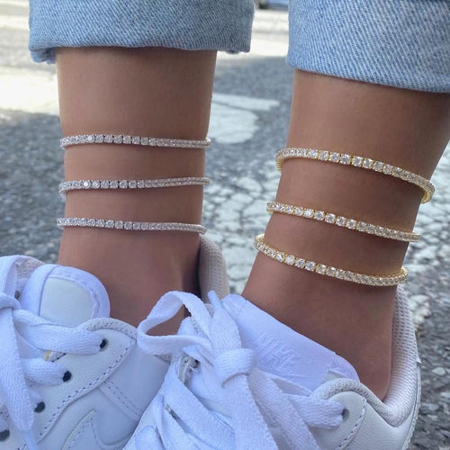 Women's 3MM Tennis Anklet - Different Drips