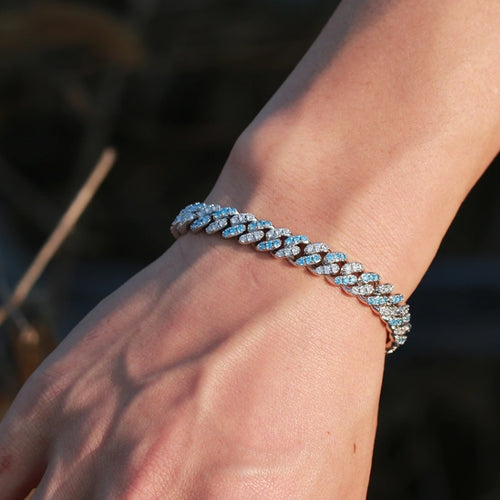 8mm Iced Out Blue & White Gold Bracelet - Different Drips