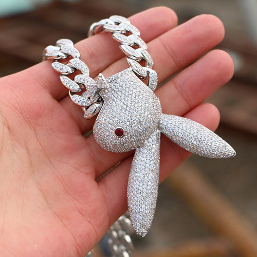 White Gold Iced Upside Down Rabbit Pendant - Different Drips