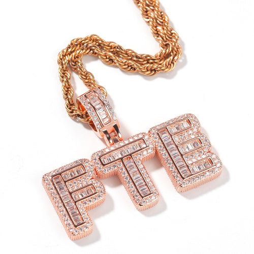 Baguette Custom Letter Pendant Rose Gold - Different Drips
