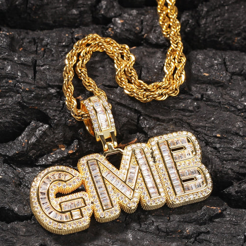 Baguette Custom Letter Pendant Yellow Gold - Different Drips
