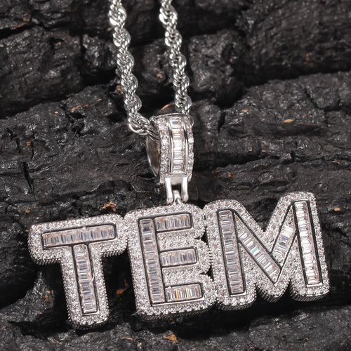 Baguette Custom Letter Pendant White Gold - Different Drips