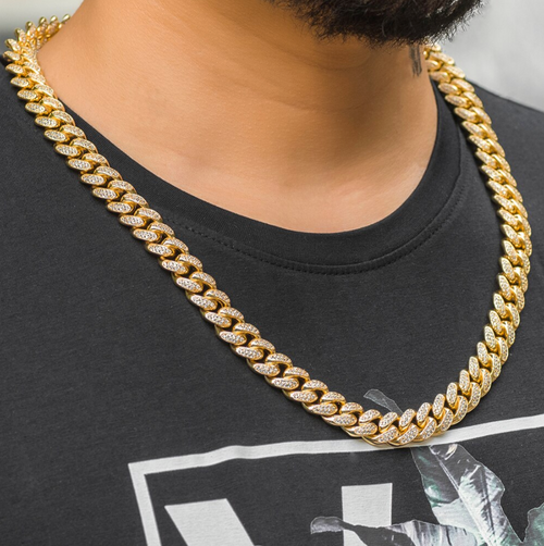 12mm Miami Cuban Link Full Iced Out Chain - Different Drips