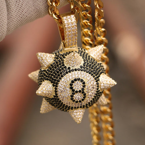 Iced Spiked 8 Ball Pendant - Different Drips