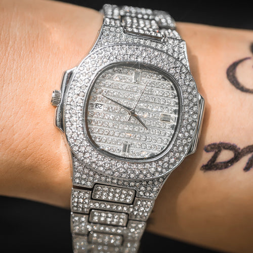 Pave Iced Rounded Square Watch - Different Drips
