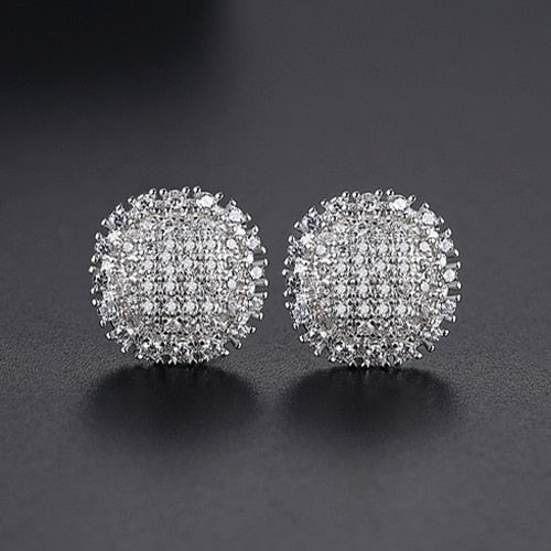 Flat Round Cut Stud Earrings - Different Drips