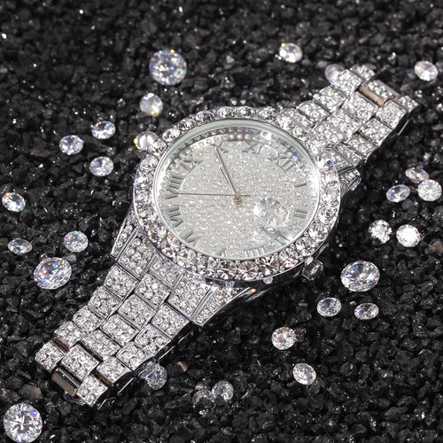 18k Iced Out Round Watch - Different Drips