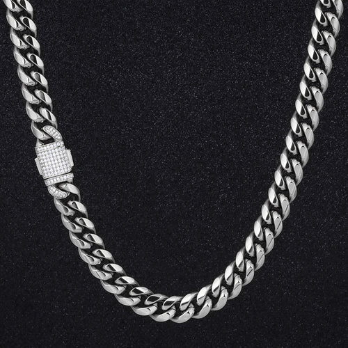 12mm Miami Cuban Link Chain Iced Clasp - Different Drips