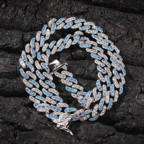 Iced Out Blue & White Gold Cuban Link - Different Drips