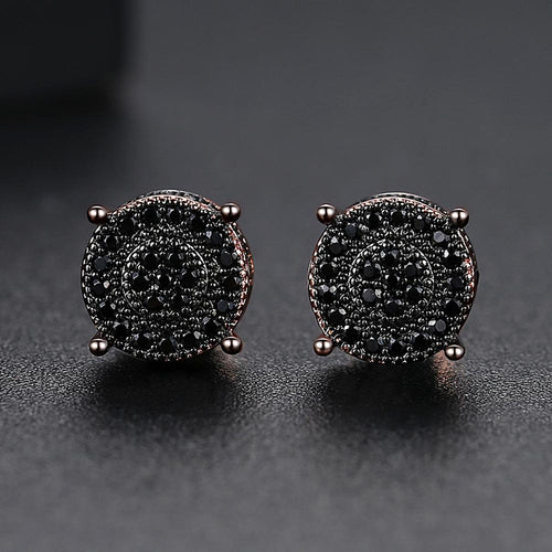 Iced Round Stone Stud Earring - Different Drips