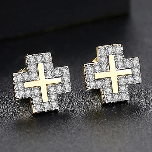 Iced Square Cross Earrings - Different Drips