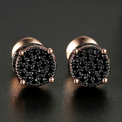 9mm Iced Round Cut Stud Earrings - Different Drips