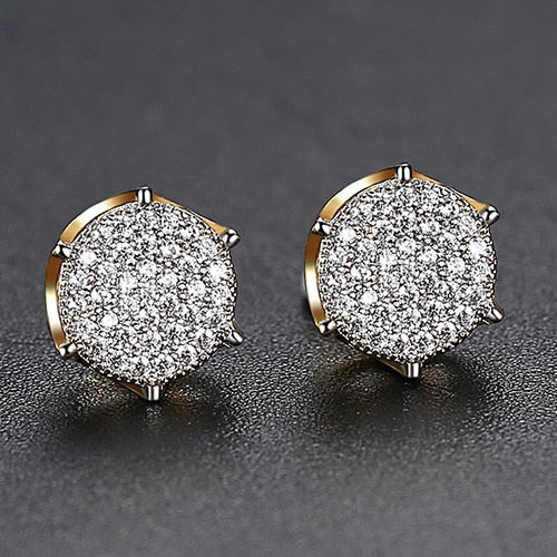 9MM Micro Pave Diamonds Stud Earrings - Different Drips