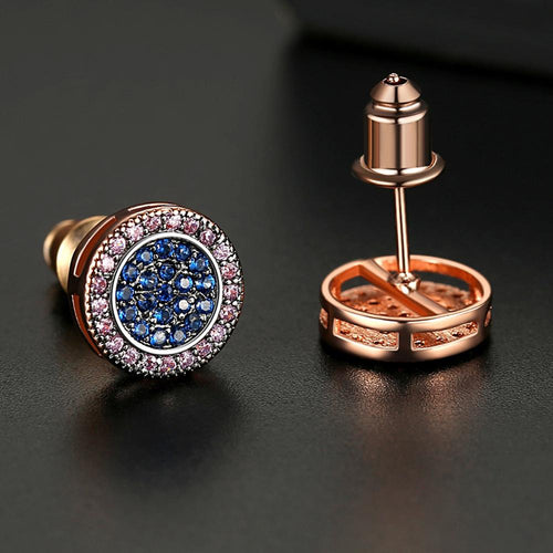 Classic Multi-Color Round Cut Stud Earrings - Different Drips