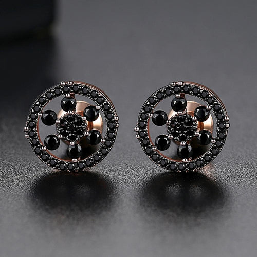 Round Flower Cluster Stud Earring - Different Drips