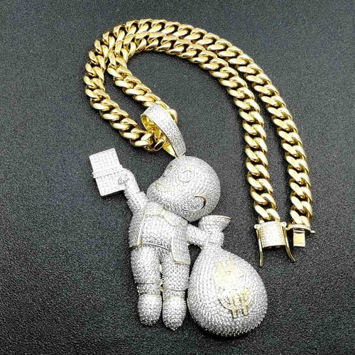 Iced Richie Rich Money Bag Pendant - Different Drips