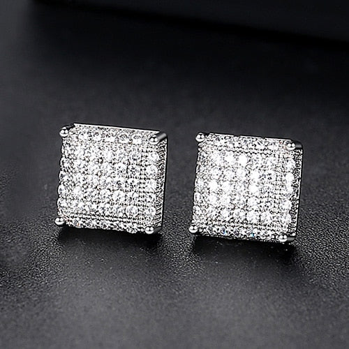 10mm Iced Square Stud Earrings - Different Drips