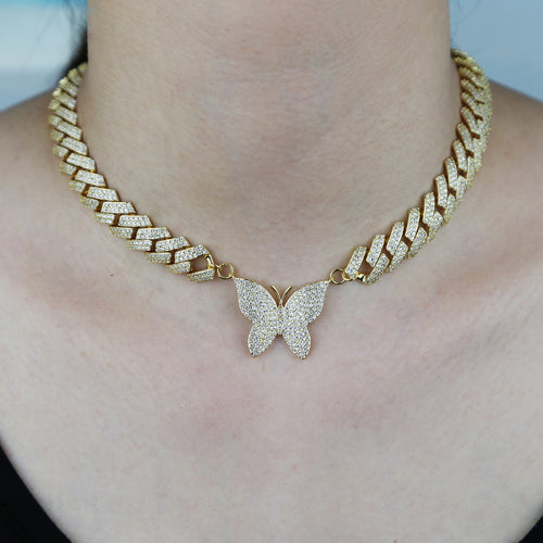 Women's 12mm Iced Out Miami Prong Cuban Link Butterfly Chain - Different Drips