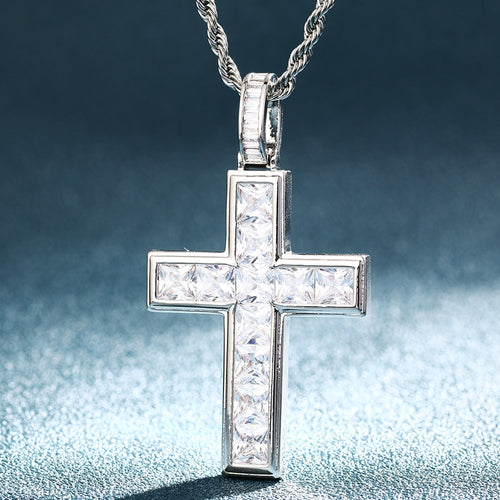 Baguette Tennis Cross Pendant - Different Drips