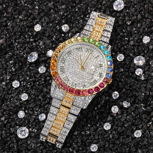 Iced Out Multi-Color Quartz Watch - Different Drips