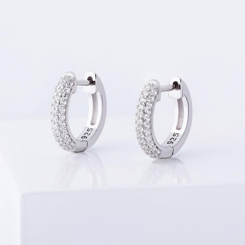 925 Sterling Silver 14mm Round Huggie Earrings - Different Drips