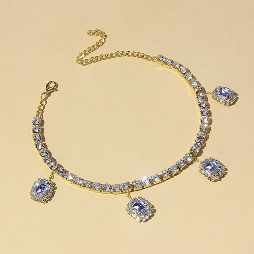 Women's Square Clustered Tennis Anklet - Different Drips