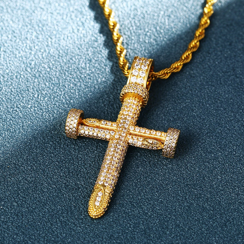 3D Thick Double Nail Cross Pendant - Different Drips