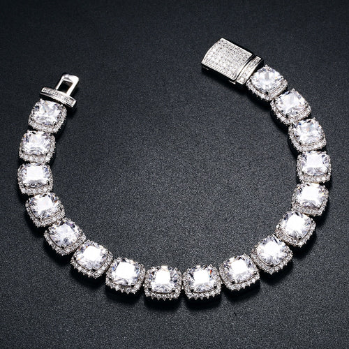 11mm Glacier Clustered Tennis Bracelet White Gold - Different Drips