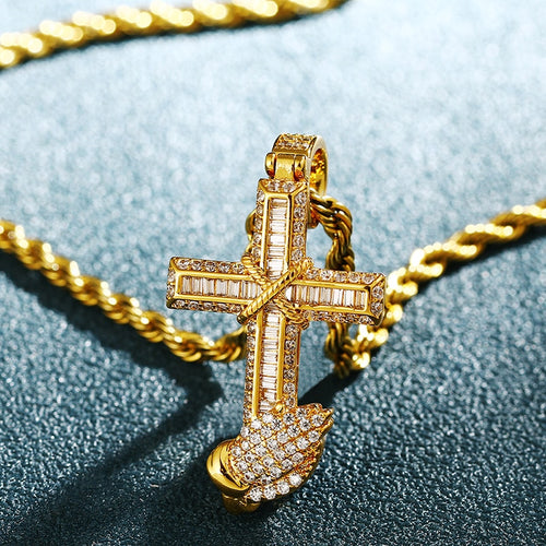 Baguette Prayer Hand Cross Pendants - Different Drips