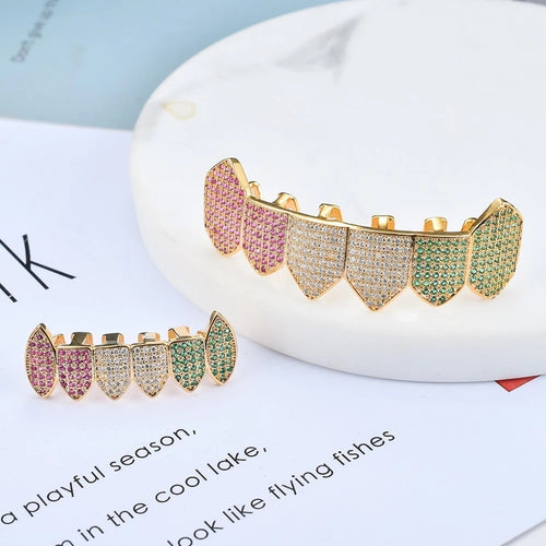 Multi-Colored Fang Iced Grillz - Different Drips
