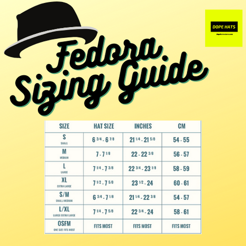 dope hats store discount and wholesale fedora sizing guide