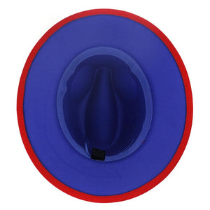 dope hats store henley unisex wide brim fedora in red with blue bottom underside view