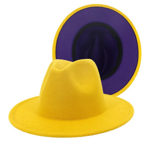 dope hats store hudson unisex two tone fedora in yellow with blue bottom