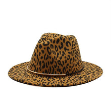 Load image into Gallery viewer, dope hats store womens cheetah leopard print wide brim fedora hat in size medium