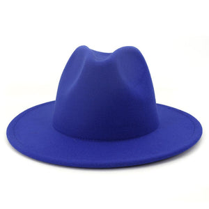 dope hats store red bottom two tone unisex wide brim fedora in blue color with red bottom