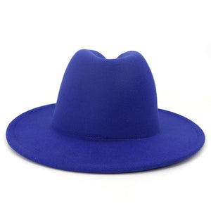 dope hats store mens and womens two tone blue and red bottom fedora hat