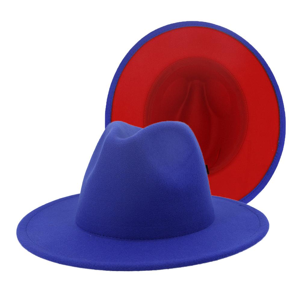 dope hats store red bottom two tone unisex wide brim fedora in blue and red color