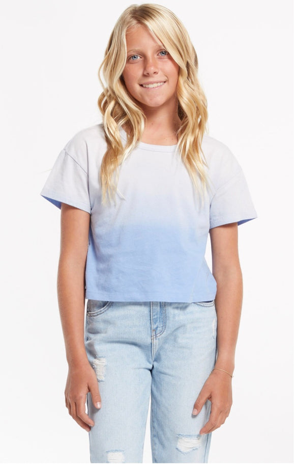 Z Supply Girls Nattie Organic Ombre Tee- Blue
