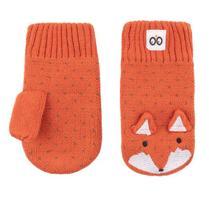 Zoocchini Knit Mitts - Finley the Fox