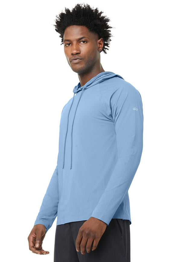 Men's Alo Yoga Idol Hooded Runner - Toluca Blue